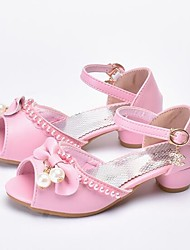 cheap -Girls' Shoes Faux Leather Summer Flower Girl Shoes Heels Pearl for Kids White / Pink