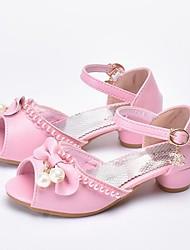 levne -Dívčí Boty Umělá kůže Léto Boty pro malé družičky Podpatky Perličky pro Děti Bílá / Růžová