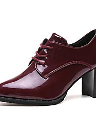 お買い得  -女性用 靴 PUレザー 夏 レースアップ オックスフォードシューズ チャンキーヒール ポインテッドトゥ ブラック / ワイン