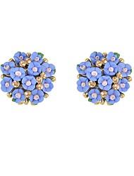 abordables -Femme Cristal Stylé Boucles d'oreille goujon - Fleur, Chanceux Basique, Mode Blanc / Bleu / Rose Pour Quotidien Rendez-vous