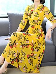 Недорогие -Жен. Большие размеры Праздники / На выход Хлопок С летящей юбкой Платье - Цветочный принт, С принтом V-образный вырез Средней длины