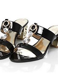 povoljno -Žene Cipele Mikrovlakana Proljeće Udobne cipele Sandale Kockasta potpetica Crn / Badem