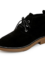 cheap -Women's Fashion Boots Suede Fall Casual Boots Low Heel Round Toe Booties / Ankle Boots Black / Green