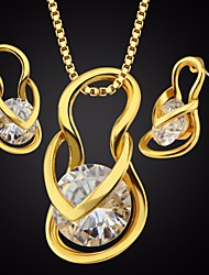 cheap -Women's AAA Cubic Zirconia Stylish / Single Strand Jewelry Set - Box, Shoe Simple, Casual / Sporty, Fashion Include Hoop Earrings / Necklace Gold / Silver For Daily / School