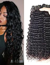 Недорогие -3 Связки Индийские волосы Кудрявый 8A Натуральные волосы Человека ткет Волосы Удлинитель Пучок волос 8-28 дюймовый Нейтральный Ткет человеческих волос Машинное плетение