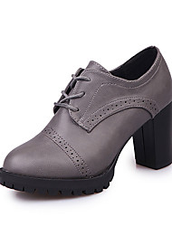 cheap -Women's PU(Polyurethane) Summer Lace Up Oxfords Chunky Heel Round Toe Black / Gray