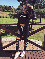 cheap -Women's Cut Out Tracksuit - Black Sports Letter Hoodie / Pants / Trousers Yoga, Running, Fitness Long Sleeve Activewear Thermal / Warm, Breathable Micro-elastic