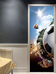Недорогие -Дверные наклейки - 3D наклейки Абстракция / Футбол Гостиная / Спальня