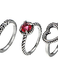 cheap -Women's Classic / Retro Midi Ring - Heart, Letter Romantic, Sweet Adjustable Silver For Date / Beginner / 3pcs