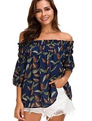 Недорогие -Жен. Рубашка Богемный Геометрический принт Тропический лист