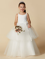 cheap -Princess Floor Length Flower Girl Dress - Cotton / Tulle Sleeveless Straps with Flower by LAN TING BRIDE®