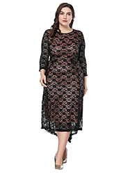cheap -Women's Street chic / Elegant Sheath / Swing Dress - Solid Colored Lace / Patchwork / Print