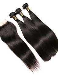 cheap -3 Bundles with Closure Brazilian Hair Straight Human Hair One Pack Solution / Hair Weft with Closure 8-22 inch Natural Color Human Hair Weaves 4x4 Closure Extention / Best Quality / Hot Sale Human