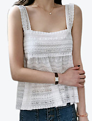 cheap -Women's Basic Tank Top - Solid Colored Lace Trims