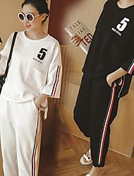preiswerte -Damen Tasche 2pcs Trainingsanzug - Weiß, Schwarz Sport Streifen T-shirt / Hosen / Regenhose Yoga, Laufen, Fitness 3/4 Ärmel Sportkleidung Atmungsaktiv, Schweißableitend Mikro-elastisch Regular