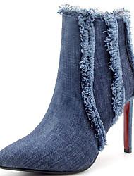 Недорогие -Жен. Cowboy / Western Boots Деним Наступила зима Ботинки На шпильке Заостренный носок Ботинки С кисточками Черный / Синий / Для вечеринки / ужина