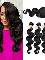cheap -3 Bundles with Closure Brazilian Hair Body Wave Human Hair One Pack Solution / Human Hair Extensions / Hair Weft with Closure 8-22 inch Natural Color Human Hair Weaves 4x4 Closure Extention / Best