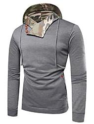 baratos -capuz solto de algodão manga comprida masculina - camuflagem / bloco de cor com capuz