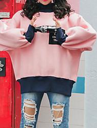 cheap -women's going out long sleeve loose sweatshirt - letter / color block turtleneck