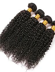 Недорогие -4 Связки Индийские волосы Kinky Curly Натуральные волосы Человека ткет Волосы Удлинитель Пучок волос 8-28 дюймовый Естественный цвет Ткет человеческих волос Женский Удлинитель Лучшее качество / 8A