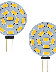 abordables -3w led g4 voiture camping car marine rv 15 led 5730 smd gamme ronde 120 degrés ac / dc 12v - 24v blanc froid / chaud (2 pcs)