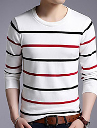 cheap -men's long sleeve pullover - striped round neck