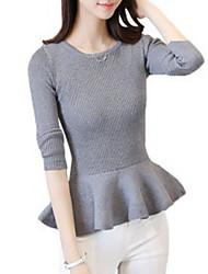 billige -Dame langærmet slank pullover - solid farvet rund hals