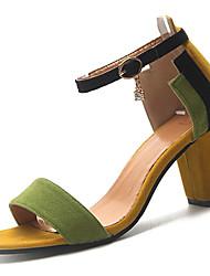 povoljno -Žene Cipele PU Ljeto D'Orsay cipele Sandale Kockasta potpetica Okrugli Toe Crn / Crvena / Zelen