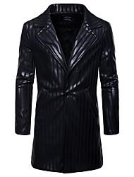 cheap -Men's Long Coat - Striped / Long Sleeve