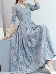 baratos -Mulheres Para Noite Vintage / Elegante Delgado Evasê / Bainha Vestido - Renda, Sólido Decote V Longo