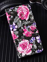 Недорогие -Кейс для Назначение Apple iPhone X / iPhone 8 Pluss / iPhone 8 Кошелек / Бумажник для карт / со стендом Чехол Цветы Твердый Кожа PU