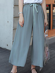 cheap -women's loose wide leg pants - solid colored