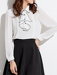 cheap -Women's Blouse - Color Block Shirt Collar / Fall