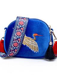 abordables -Femme Sacs Velours Mobile Bag Phone Broderie / Fermeture Bleu / Noir