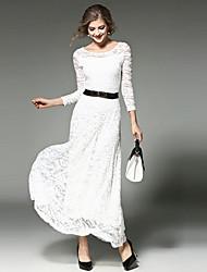Недорогие -Жен. На выход С летящей юбкой Платье - Однотонный, Кружева Макси Белый
