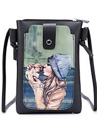 baratos -Mulheres Bolsas PU Telefone Móvel Bag Estampa / Ziper Preto