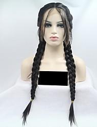 Недорогие -Синтетические кружевные передние парики Прямой тесьма 130% Человека Плотность волос Искусственные волосы 24 дюймовый Женский Черный Парик Жен. Средняя длина Лента спереди Черный / Да