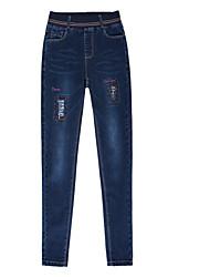 billige -Kvinders slanke jeansbukser - solidfarvet