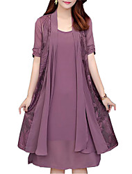 cheap -Women's Plus Size Loose Two Piece Dress - Solid Colored Lace / Spring / Fall