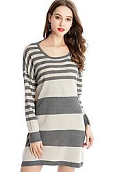 preiswerte -Damen Strickware Kleid Gestreift Mini