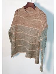 billige -Dame langærmet pullover - stribet rundt hals