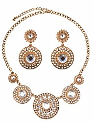 cheap -Women's Cubic Zirconia Stylish / Cuban Link Jewelry Set - Flower Stylish, Ethnic Include Drop Earrings / Pendant Necklace Black / Silver / Champagne For Party / Festival