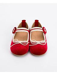 abordables -Fille Chaussures Daim Eté Confort Ballerines Noeud / Scotch Magique pour Enfants / Bébé Noir / Rouge