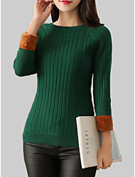cheap -Women's Long Sleeve Cotton Slim Pullover - Solid Colored / Striped / Fall / Winter
