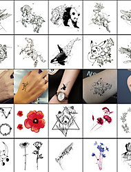 Недорогие -40 pcs Временные татуировки Тату с тотемом / Тату с животными Гладкий стикер / Безопасность Искусство тела Лицо / Корпус / запястье / Временные татуировки в стиле деколь