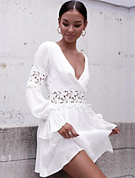 Недорогие -Жен. На выход Вспышка рукава Скейтер Платье - Однотонный Глубокий V-образный вырез До колена Белый