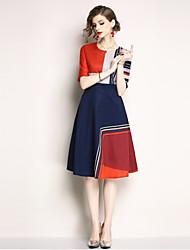 baratos -Mulheres Moda de Rua Evasê Vestido - Estampado, Estampa Colorida Médio