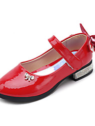 cheap -Girls' Shoes Patent Leather / PU(Polyurethane) Spring &  Fall / Spring & Summer Comfort / Flower Girl Shoes Flats Walking Shoes Rhinestone / Bowknot / Magic Tape for Kids Purple / Red