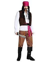 Недорогие -Пираты Карибского моря Костюм Муж. Старшая школа Хэллоуин Хэллоуин Карнавал Маскарад Фестиваль / праздник Полиэстер Инвентарь Коричневый Однотонный Полоски Halloween