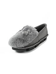 Недорогие -Жен. Обувь Искусственный мех Наступила зима Удобная обувь Мокасины и Свитер На плоской подошве Черный / Серый / Розовый